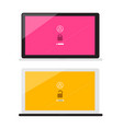 lock and unlock with password symbols on notebook vector image vector image