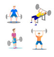 men are engaged weightlifting in the gym seamless vector image