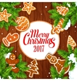 Merry Christmas 2017 gingerbread biscuits poster vector image vector image