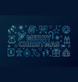 merry christmas blue line banner or vector image