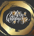 merry christmas hand lettering on dark background vector image