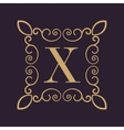 Monogram letter X Calligraphic ornament Gold vector image vector image