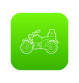 motorcycle with boxes icon green vector image