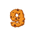 number 9 cookies font oatmeal biscuit alphabet vector image