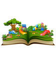 open book with playground on a white background vector image vector image