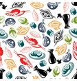 Oriental cuisine dishes and sake seamless pattern vector image vector image