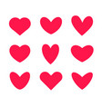 pink hearts icon set valentines day vector image