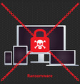ransomware ransom ware on a laptop flat icon for vector image