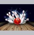 red bowling ball crashing into pins on bowling vector image vector image