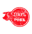 red grunge dirty rubber stamp with a pig vector image vector image