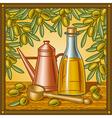 Retro olive oil still life vector image vector image