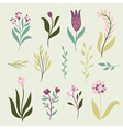 set graphic flowers vector image vector image