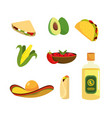 set mexican food with tequila and sauce vector image