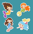 set of cute girl mermaids stickers set of cute vector image vector image