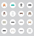 set of furniture realistic symbols with chair vector image vector image