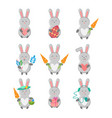 set of hare with different subjects - heart vector image vector image