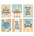 set summer holidays posters or greeting card vector image vector image