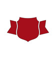 shield red icon outline simple ribbon vector image