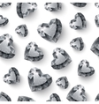 Shiny diamond hearts on white background seamless vector image