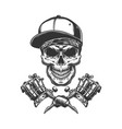 skull in bandana and baseball cap vector image vector image