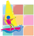 Sport icon for windsurfing in colors vector image vector image