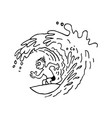 surfing man outlined cartoon handrawn sketch vector image