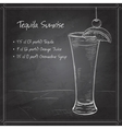 Tequila sunrise realistic cocktail on black board vector image