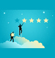 two businessmen giving five stars rating vector image vector image