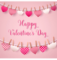 Valentines Day Greeting Card with Hearts Garland vector image