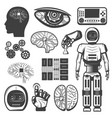 vintage artificial intelligence icons set vector image vector image