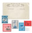 vintage postcard with set stamps - paris vector image