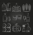 whiskey process and icons on chalkboard vector image