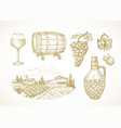 wine or vineyard sketches set hand drawn vector image