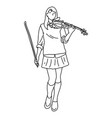 woman playing electric modern violin vector image vector image