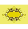 Yellow shield and lovely floral elements vector image vector image