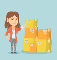young business woman checking boxes in warehouse vector image vector image