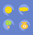 coin icons with tree coin and bag coin vector image