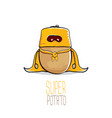 funny cartoon cute brown super hero potato vector image