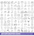 100 exploration icons set outline style vector image vector image