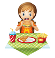 A child eating at a fastfood restaurant vector image vector image