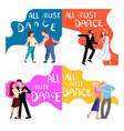 banner happy different people dancing vector image vector image
