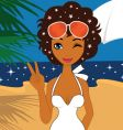 beauty on the beach vector image vector image