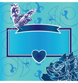 blue frame with heart butterfly and roses vector image