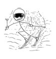 cartoon of man male skiing downhill vector image
