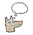 cartoon smug wolf face with thought bubble vector image vector image