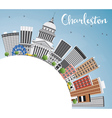 Charleston Skyline with Gray Buildings Blue Sky vector image vector image