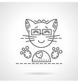 Cheerful cat flat line icon vector image