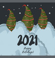 christmas card 2021 winter landscape new year vector image vector image