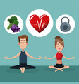 couple yoga exercise food healthy vector image