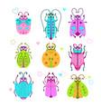 cute cartoon bugs set vector image vector image